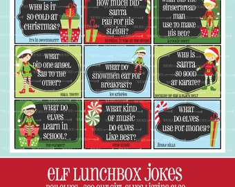 Boy ELF LUNCHBOX JOKES, Printable, Christmas Lunchbox Notes, Kids, Boy Elves, Christmas Kids Jokes, Elf Cards, Elf Jokes, Instant Download