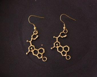 LSD Molecule Brass Earrings