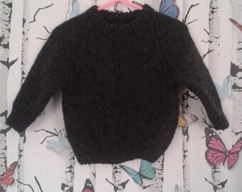 Charcoal Jumper, Boys Aran Jumper, Knitted Jumper, Hand Knitted, Handmade