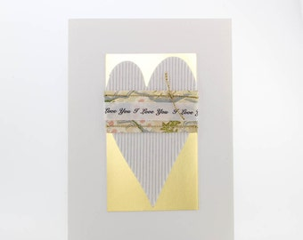 "Handmade Greeting Card - ""I Love You""  Wrapped and Tied Around Heart"