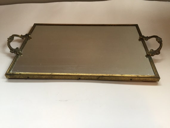 Vintage Vanity Tray Mirrored Brass Colored Metal