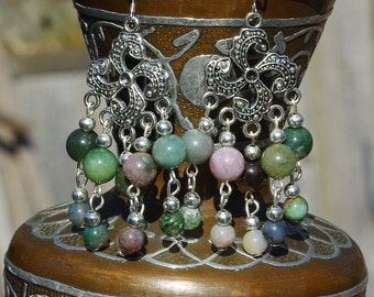 Indian Agate Stone Chandelier Earrings ~ Boho Stone Earrings ~ Bohemian Earrings ~ Green Stone Earrings ~ Nature Lover Gift