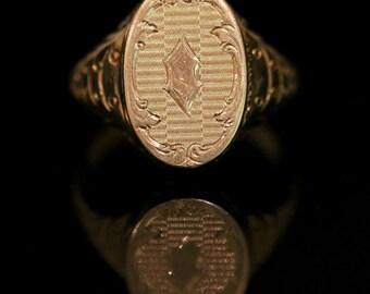 Antique Gold Gents Locket Ring 15ct Gold