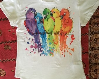 SALE!!! Multicolored birds white t-shirt