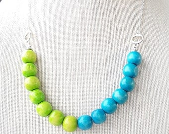 Lime and Turquoise Beaded Necklace