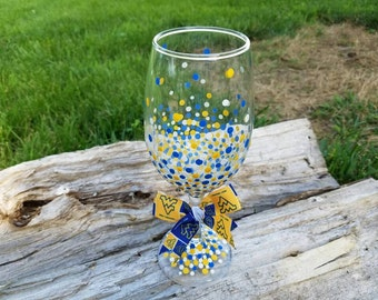 WVU Mountaineers inspired blue gold confetti oversized wine glass, WVU Mountaineers inspired polka dot wine glass,  20oz WVU wine glass