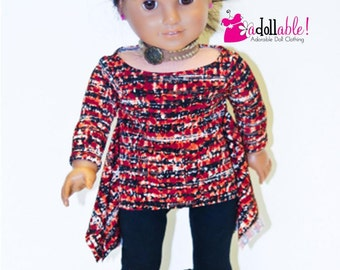 American made Girl Doll Clothes, 18 inch Girl Doll Clothing, Abstract Twirly Tunic and Leggings made to fit like American girl doll clothes