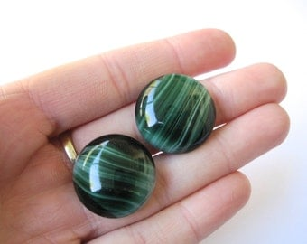 25mm Cabochon Vintage NOS Swirled Green Glass Round Cabochons (Qty2)
