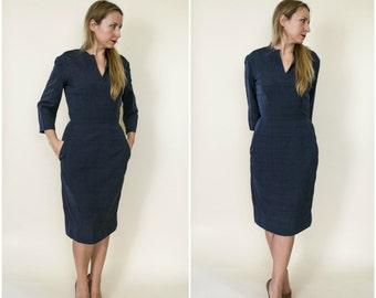 1950s dress .  50s silk day dress . vintage 50s style navy blue wiggle dress . Harvey Berin Karen Stark . small