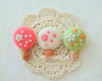 Needle felted brooch, pin - Little forest series V