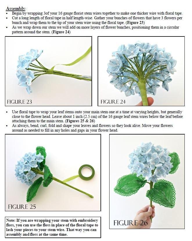 PDF Pattern - French Beaded Hydrangea, sead bead flower tutorial ...