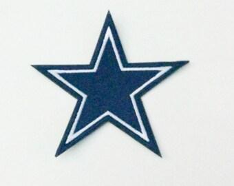 "Small Dallas Cowboys Logo Iron On Patch 2.8"" x 2.5"" Football Logo Sewn On or Iron On Free Shipping"