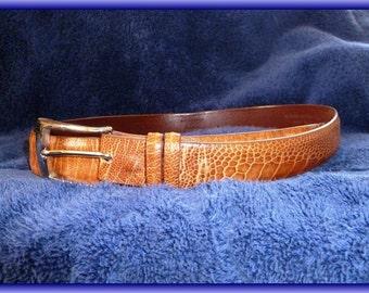 Ostrich Belt In Cognac Color