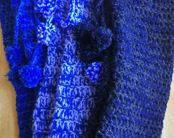 Navy Blue and Dark Grey Blend Crochet Leg Warmers