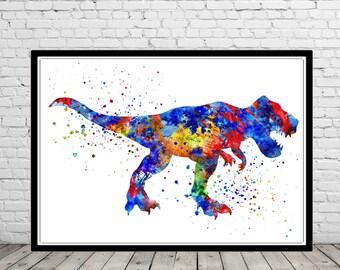 T Rex, Tyrannosaurus Rex, dinosaur watercolor, animal painting, home decor, watercolor painting,animal art, Dinosaur, Dinosaur art
