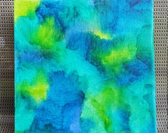 Blue and Green Ocean melted crayon art