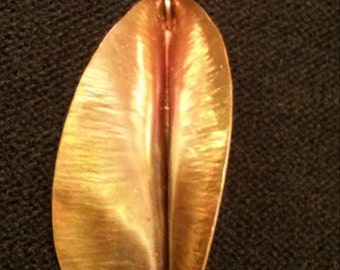 Copper twisted leaf earrings