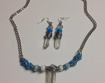 Wire Wrapped Crystal with Shades of Blue Necklace