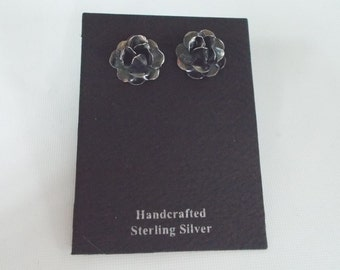 Oxidized Silver Rose Stud Post Earrings