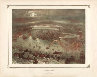 Central Park in Winter, Manhattan (New York, N.Y.).  J. Bien.   Vintage Reproduction Print Art Poster Map