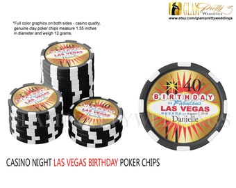 Las Vegas Sign 40th Birthday Poker Chips - clay casino poker chips - Set of 10 Favors red black gold - Style Name: MARKI
