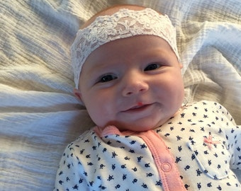 Baby White Lace Headband, Baby Headband , stretchy lace, baby girl