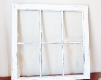 white distressed frame wood window picture frame 6 pane vintage each side distressed different family framelarge frame 32x28 - Distressed Window Frame