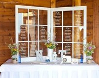 Set of 2 rustic Wood window wedding seating chart, window seating charts,Rustic wedding,wood window frame seating chart 2, 4, 6, and 9 panes