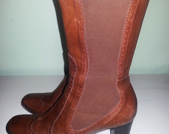 Vintage brown leather boots, brown leather boot, brown boots, 1990 leather boots.