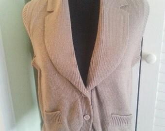 Vintage sweater, vintage knitted vest, vintage brown vest, brown vest, 1970's vest, 1970's brown vest.