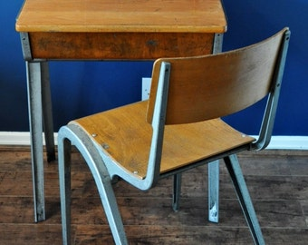 AVAILABLE Vintage industrial Esavian 1950's school desk and chair.