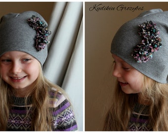 Hand made cotton baby girl beanie hat, handmade flowers, flower hat,