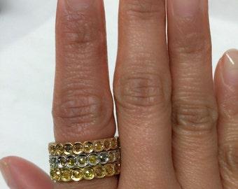 18k gold Rose cut diamond Eternity Ring