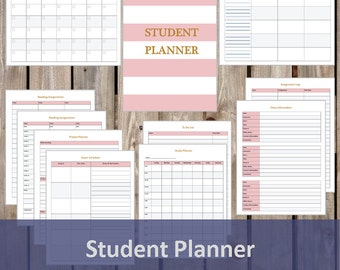 Undated Student Planner - Student Organizer - Student School Planner - Printable/Editable PDF - INSTANT DOWNLOAD - 11 Pages