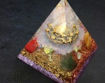 Rainbow Moonstone Pyramid (Shamanic pyramid) Fruit of life base