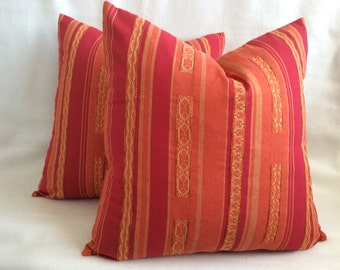 Mexican Designer Pillow Cover Set - Red/ Orange