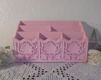 Pink Shabby Chic Desk Storage Organizer Up Cycled Vintage Syroco File Letter Mail Craft Room Romantic