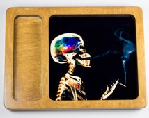 Smoking skeleton rolling tray printed with scratch and heat resistant ink - cannabis, potleaf, 420, weed