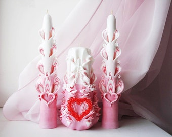 Wedding candles-home-carved candles-heart Pink-Pink Unity Candle-pink wedding