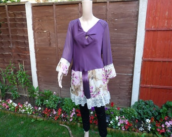 Upcycled clothing for women hippie clothes upcycled tunic top shabby chic clothing boho clothing bohemian tunic bohemian clothing womens top