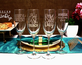 Brunch Gift Set For Her Set of Four Etched Champagne Flutes - The Brunch Collection - Four Champagne Glasses Etched with custom designs