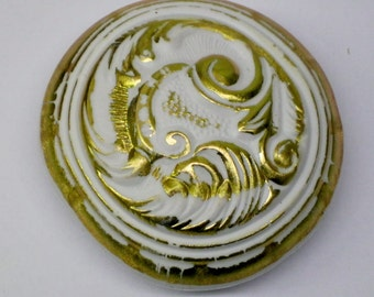 Vintage Gold and White Door Knob Cover 2 per Set