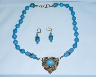 Turquoise beaded necklace and earrings