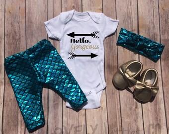 Mermaid leggings, Baby Outfit Set, Baby Leggings,Onesie, leggings,Mermaid Outfit, Mermaid ,Outfit Set, Headband