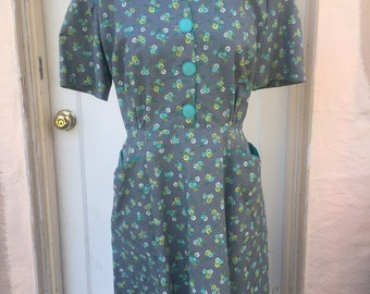 Gray, green and blue, sweetheart neckline, 50s style day dress