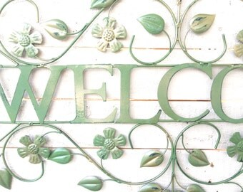 """Iron """"Welcome"""" Sign, Garden Sign, Home Decor, For The Home, Above Door, Customize"""