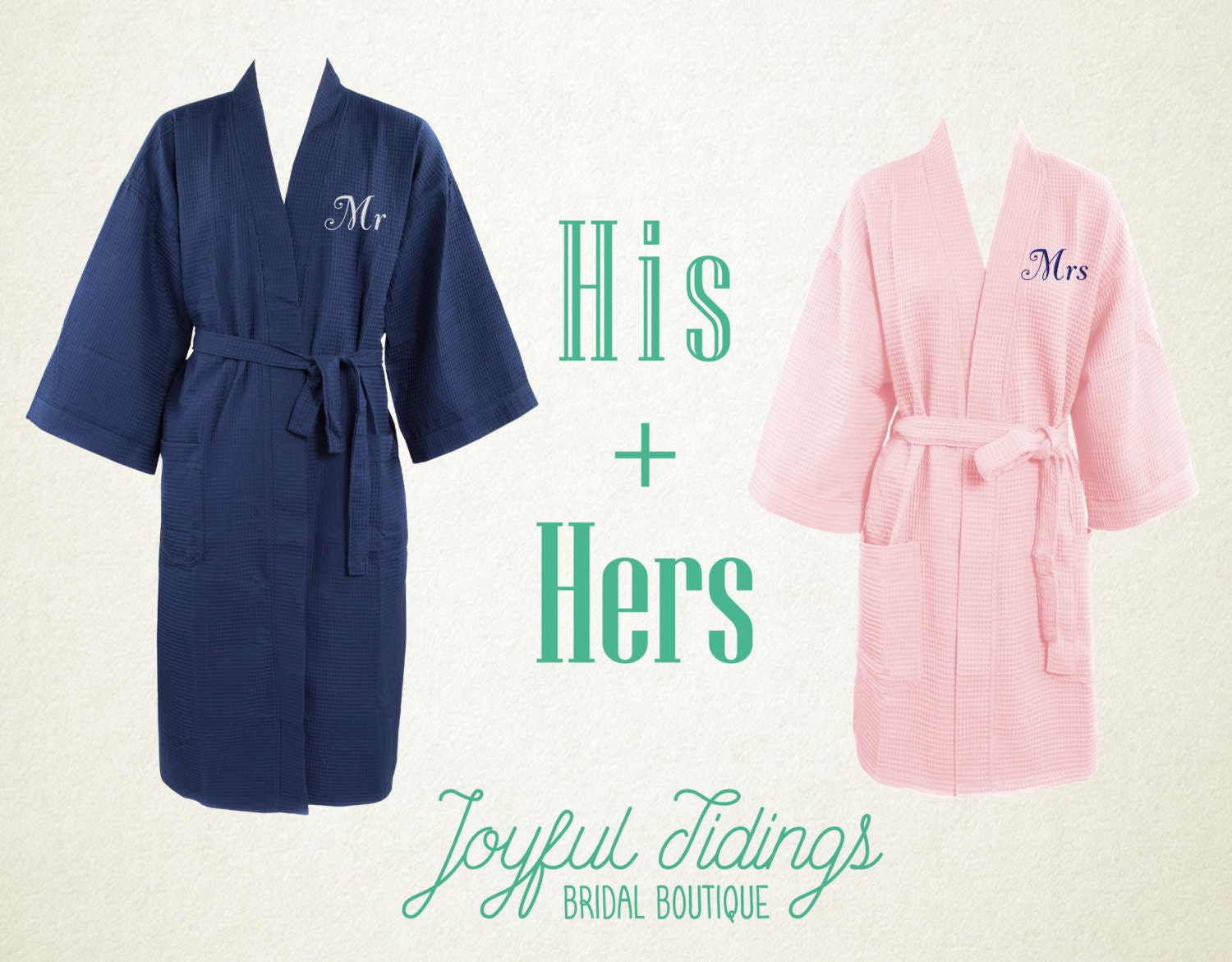 his and hers personalized waffle robe set couples gift gift. Black Bedroom Furniture Sets. Home Design Ideas