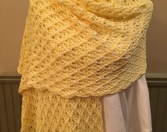 Hand knitted, rectangular shawl