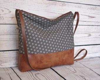 Crossbody bag, canvas and vegan leather, slouchy cross body messenger bag, shoulder bag, faux leather bag
