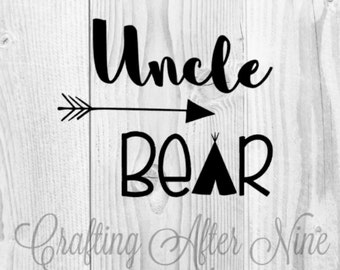 Uncle Bear, Bear Family, Worlds Best Uncle, Personal & Commercial Use, Silhouette Cameo, Cricut Cut File, Svg Cutting File, Png Image